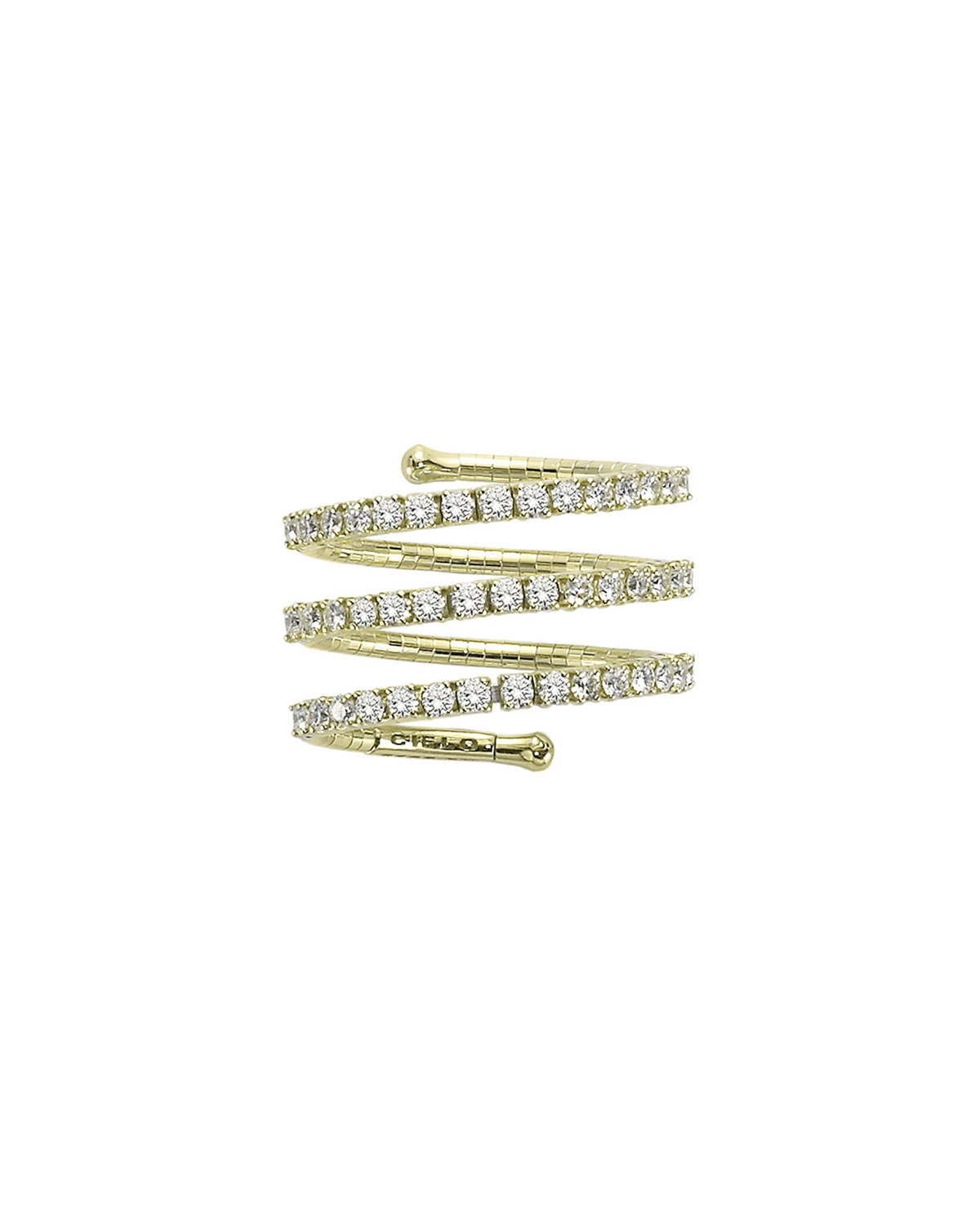 Mattia Cielo 18k Yellow Gold 3-Row Diamond Spiral Ring, Size 5.5-6