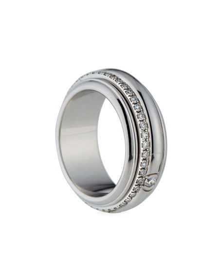 Possession Turning Band Ring with Diamonds in 18K White Gold, Size 54