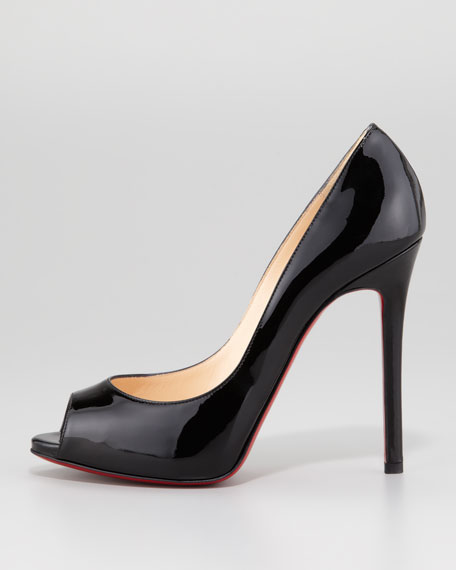 Flo Patent Leather Red Sole Peep-Toe Pump, Black