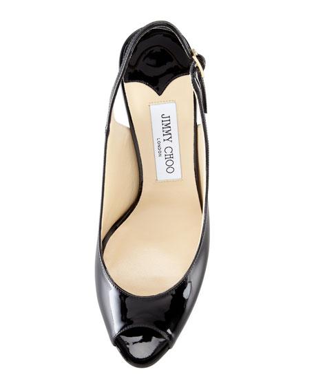 Nova Peep-Toe Patent Slingback, Black