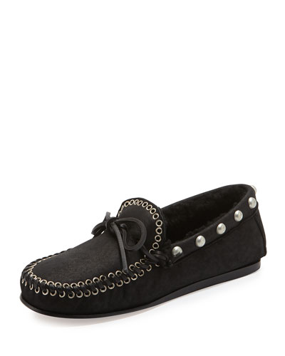 Etty Fur-Lined Moccasin, Black
