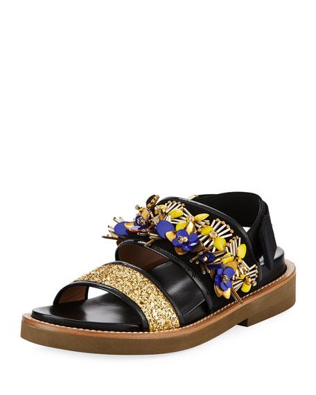 Marni Embellished Glitter Flat Sandal