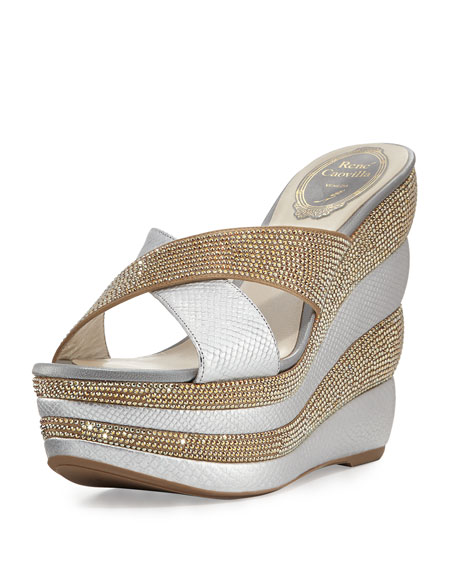 Rene Caovilla Crystal Crisscross 135mm Wedge Sandal, Gold