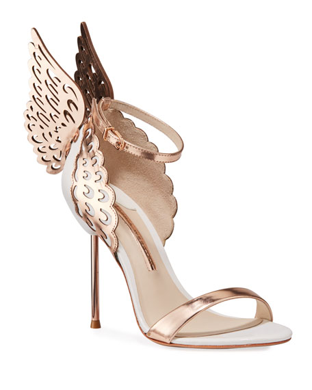 Sophia Webster Evangeline Angel Wing Sandals, Rose Gold/White | Neiman Marcus