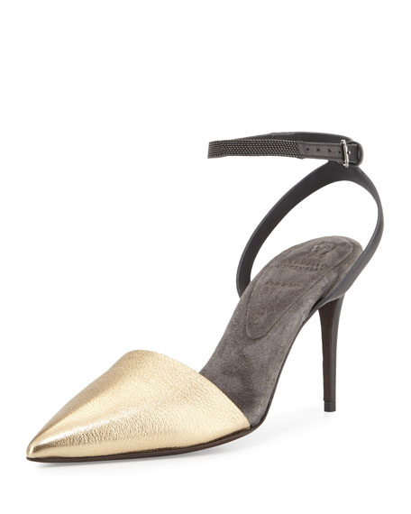 Brunello Cucinelli Monili Ankle-Wrap d'Orsay Pump, Gold
