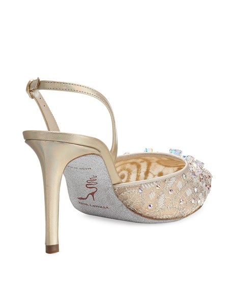 Crystal Lace 75mm Slingback Pump