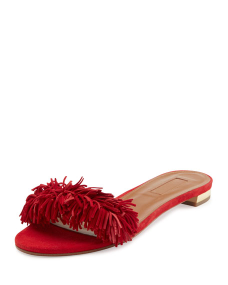 Wild Thing Suede Flat Slide Sandal, Red