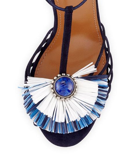 Samba Raffia T-Strap 105mm Sandal, Blue