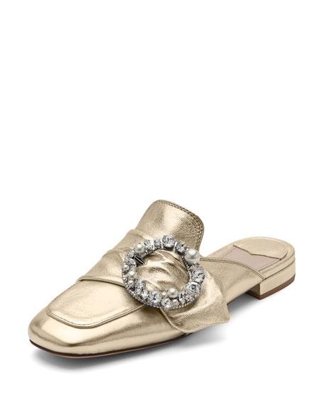 Miu Miu Pearly-Buckle Leather Mule, Gold