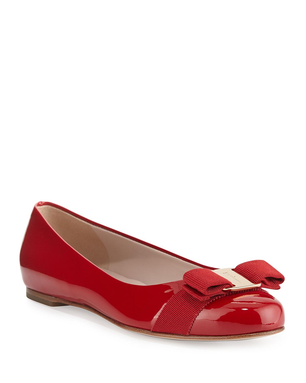 faaf6917dc0fa Salvatore Ferragamo Varina Patent Bow Ballet Flats