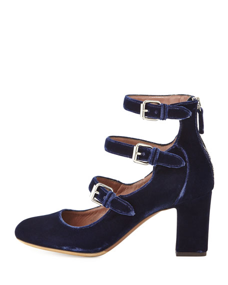Image 2 of 4: Tabitha Simmons Ginger Velvet Three-Strap Pumps, Blue