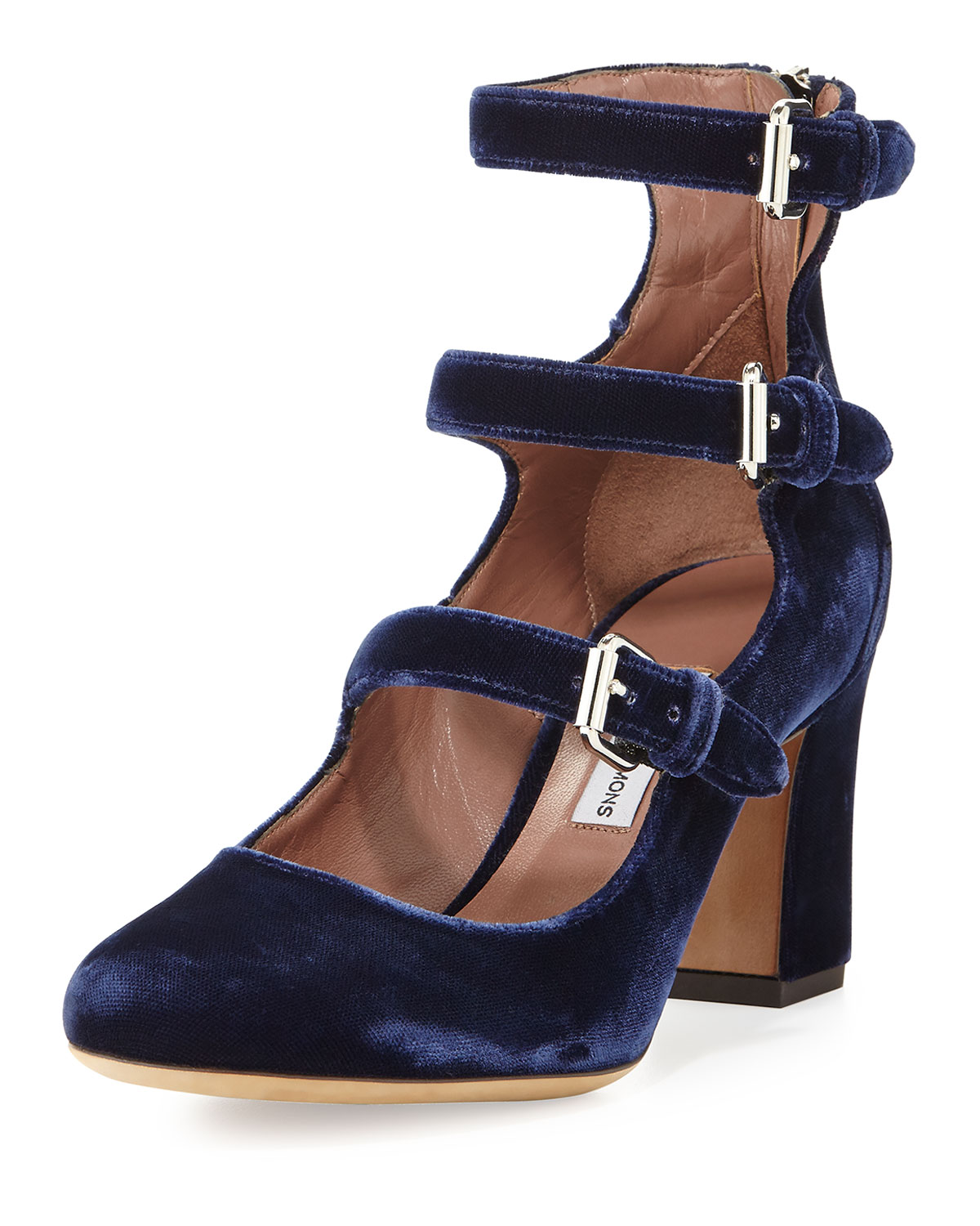 Tabitha Simmons Ginger Velvet Three-Strap Pumps, Blue