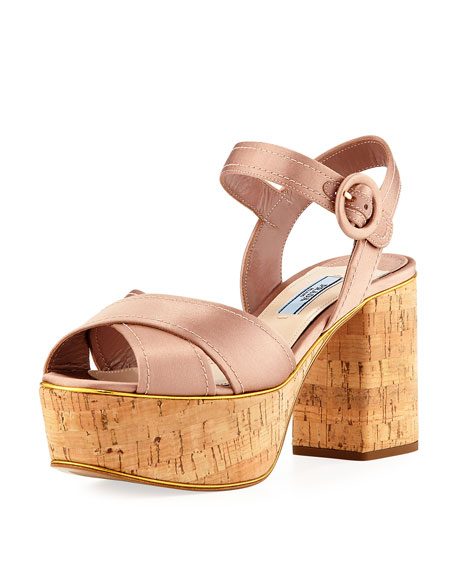 Prada Satin Crisscross Platform Sandal, Neutral