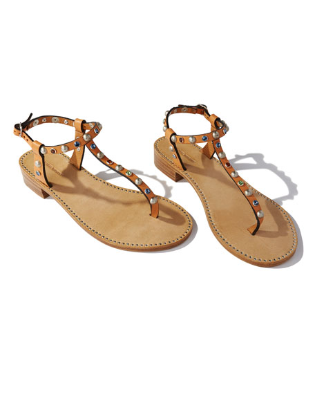 Aelith Studded Thong Sandal, Natural