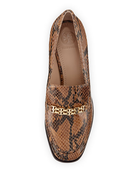 Gemini Link Snake-Embossed 65mm Loafer, Brown