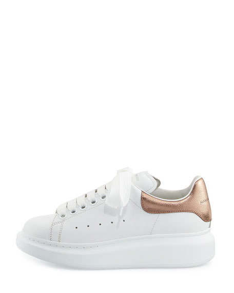 Leather Lace-Up Platform Sneaker, White/Rose Gold