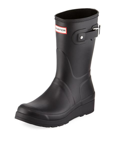 Original Tall Studded-Strap Wedge Rain Boot, Black