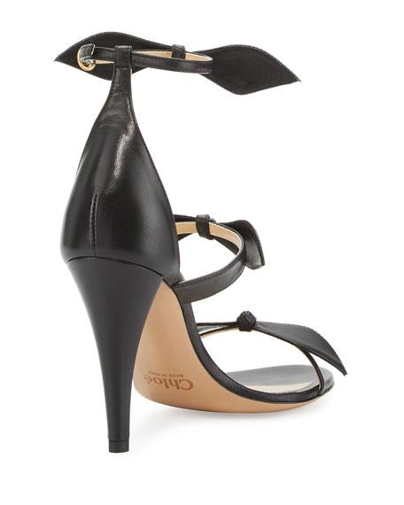 Naka Bow 100mm Sandals, Black