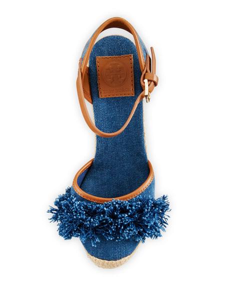 Shaw Fringe Espadrille Wedge Pump, Denim Blue/Royal Tan