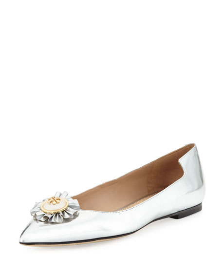 Tory Burch Melody Metallic Leather Flat, Silver