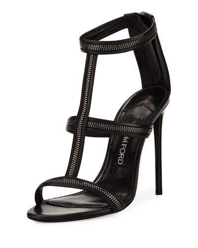 Zipper T-Strap 105mm Sandal, Black