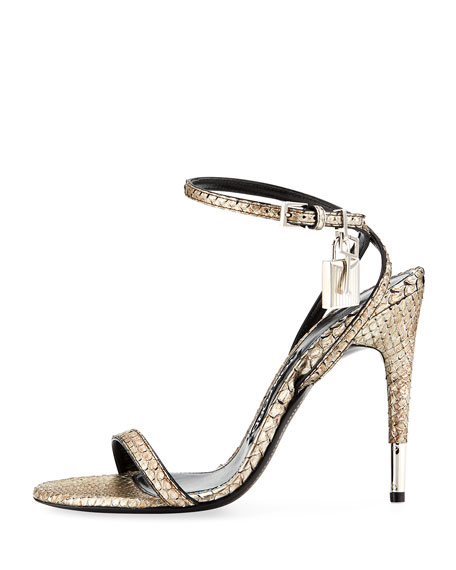 TOM FORD Python Ankle-Lock 105mm Sandals, Gray