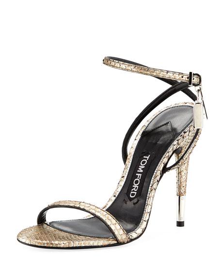 TOM FORD Python Ankle-Lock 105mm Sandal, Gray