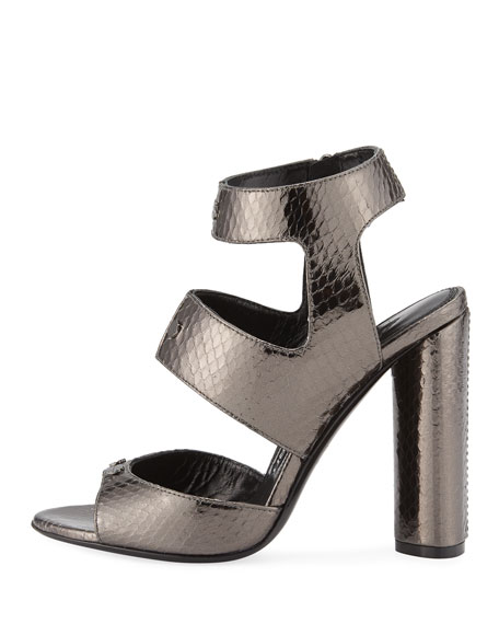 Rivet Snakeskin 105mm Sandal, Gray