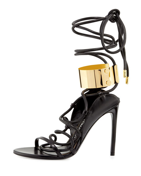 Strappy Leather Ankle-Cuff 105mm Sandal, Black