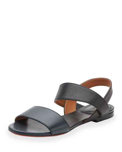 Leather Double-Band Flat Sandal, Abyss Blue