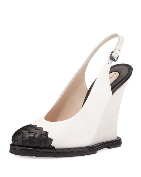 Bottega Veneta Intrecciato-Toe Slingback Wedge Pump, White/Black