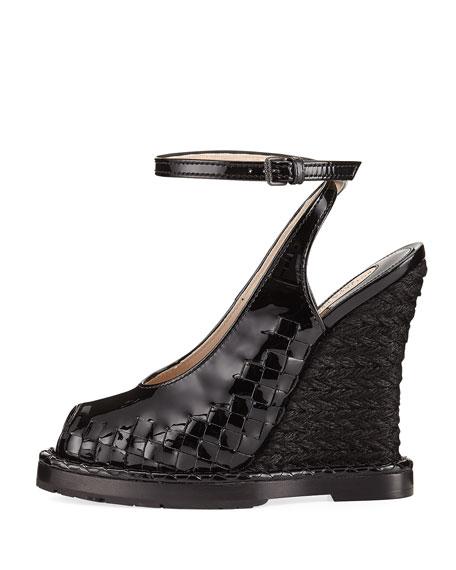 Intrecciato Peep-Toe Wedge Sandal, Black