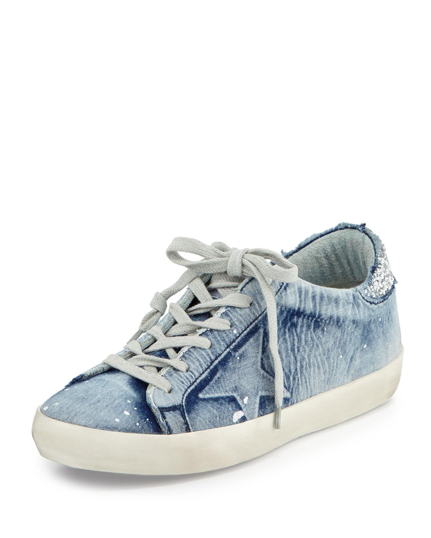 526a90d39dec2 Golden Goose Denim Low-Top Sneaker, Bleached   Neiman Marcus