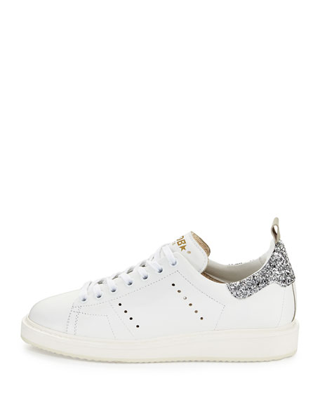 Starter Leather Low-Top Sneakers, White/Silver