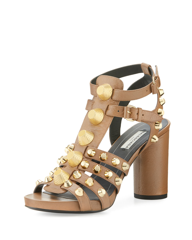 c3d5fc3b337 Balenciaga Studded Chunky-Heel Cage Sandal