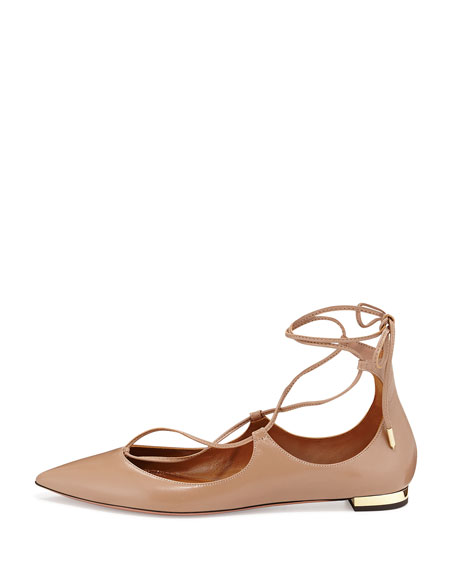 Christy Lace-Up Leather Flat, Biscotto