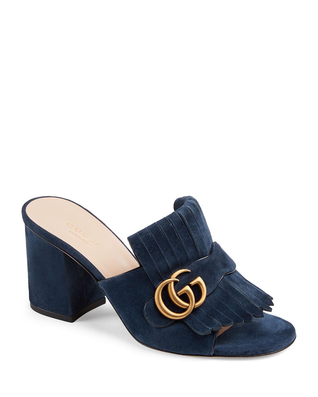 96f01f6fd2d3 Gucci Marmont Suede Fringe Slide Sandals