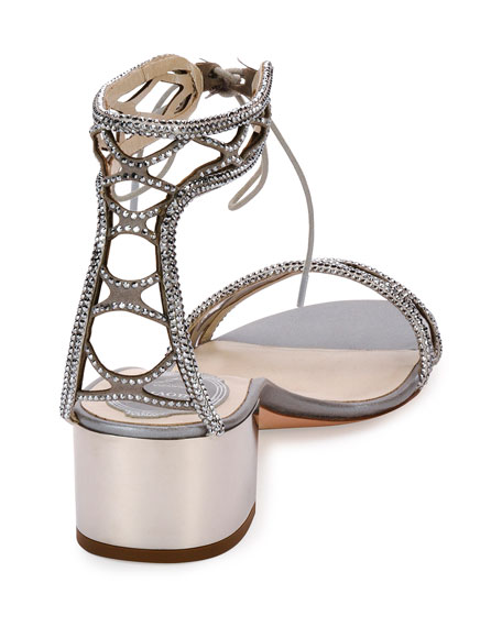 Crystal-Studded 40mm Ankle-Tie Sandals, Silver