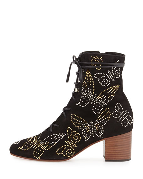 Butterfly-Studded Lace-Up Boot, Black