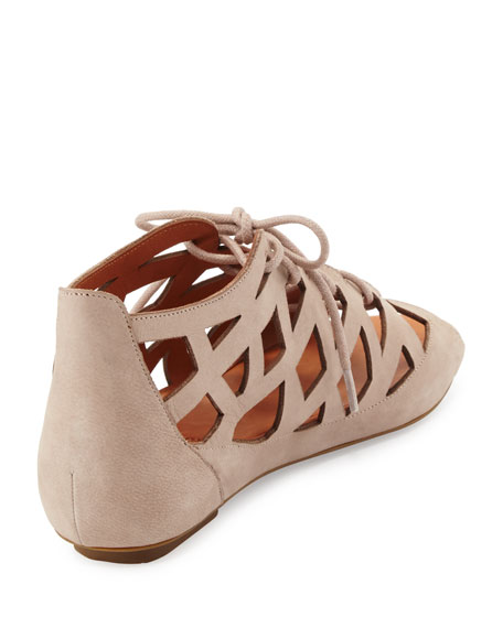 Brielle Lace-Up Cutout Sandal, Mushroom