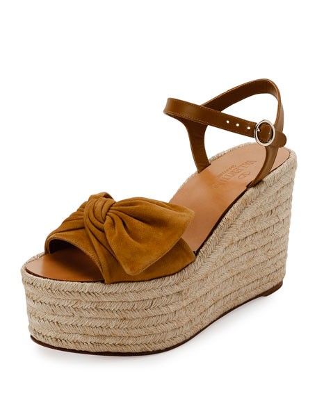 Fast Shipping Bow' Espadrille Wedge Sandal Women Womens Black Valentino Womens Sandals