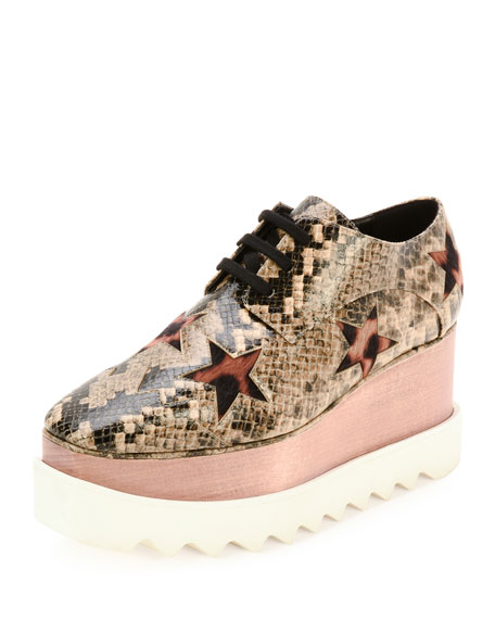 Stella McCartney Elyse Snake-Embossed Star Platform Oxford