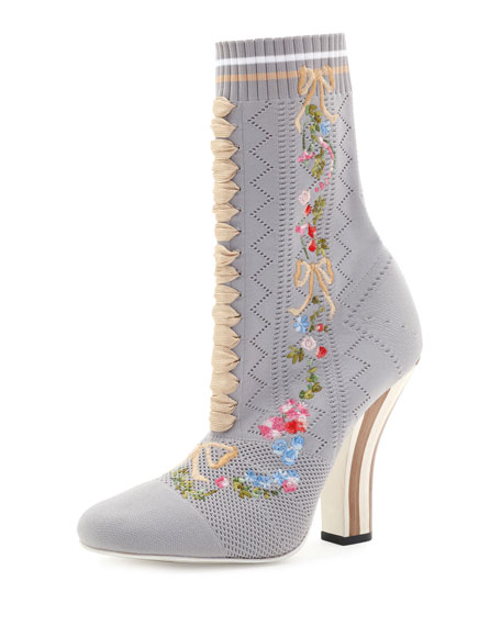 Embroidered Knit 100mm Bootie, Gray