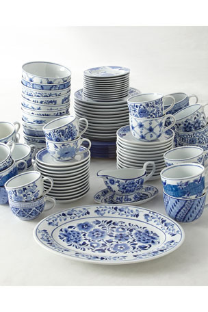 Neiman Marcus Set of 12 Assorted Blue & White Dessert Plates Set of 12 Assorted Blue & White 14-Ounce Cups & Saucers