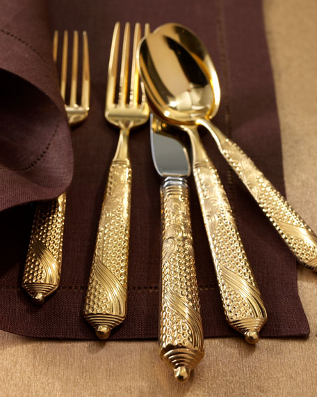 Yamazaki Tableware 5-Piece Byzantine Gold-Plated Flatware Place
