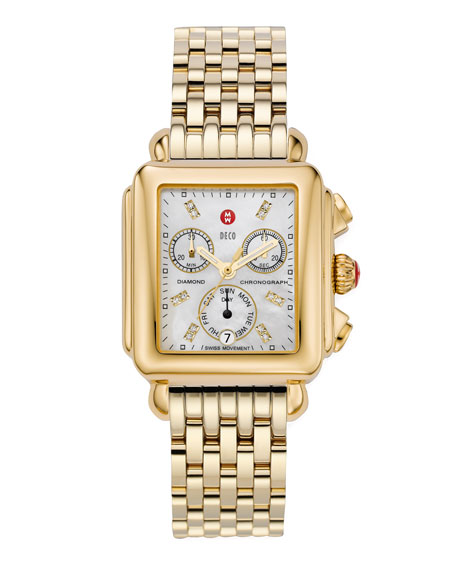 18mm Deco Diamond Dial Watch Head, Gold