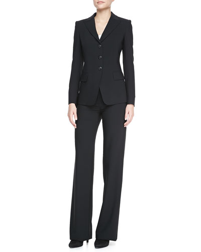 Armani Collezioni Three-Button Jacket, Poplin Button-Down Blouse & Classic Straight-Leg Pants