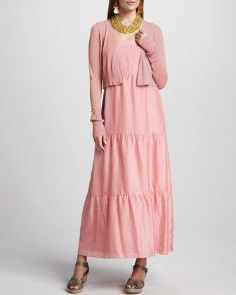 Cropped Cardigan & Silk Tiered Maxi Sundress, Petite