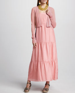 Eileen Fisher Cropped Cardigan & Silk Tiered Maxi Sundress, Women's