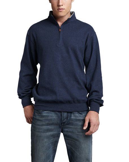 Melange Fleece Zip Sweater, Kalamata